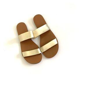 J Crew New Gold Sandal Double Strap Flats Slide 7